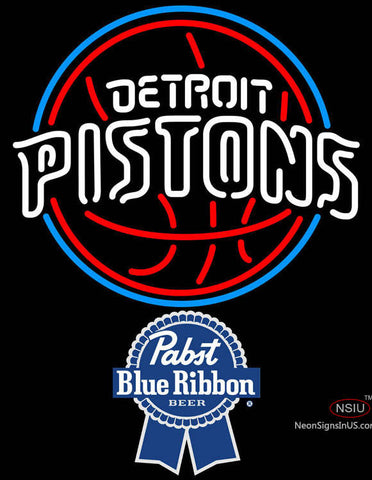 Pabst Blue Ribbon Detroit Pistons NBA Neon Sign