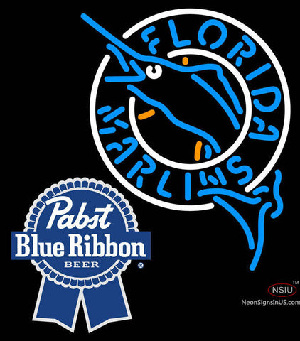 Pabst Blue Ribbon Florida Marlins MLB Neon Sign  7