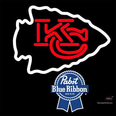 Pabst Blue Ribbon Kansas City Chiefs NFL Neon Sign   x