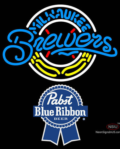 Pabst Blue Ribbon Milwaukee Brewers MLB Neon Sign