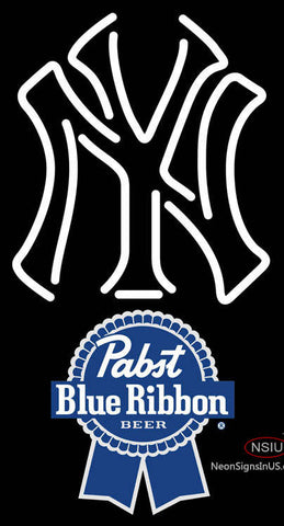 Pabst Blue Ribbon New York Yankees White MLB Neon Sign