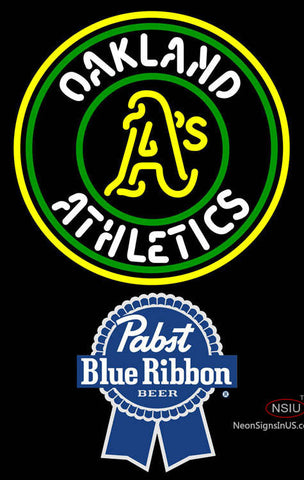 Pabst Blue Ribbon Oakland As MLB Neon Sign
