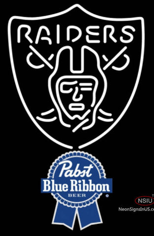 Pabst Blue Ribbon Oakland Raiders NFL Neon Sign