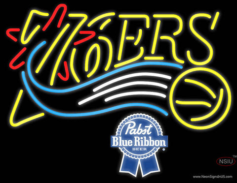 Pabst Blue Ribbon Philadelphia 7ers NBA Neon Sign