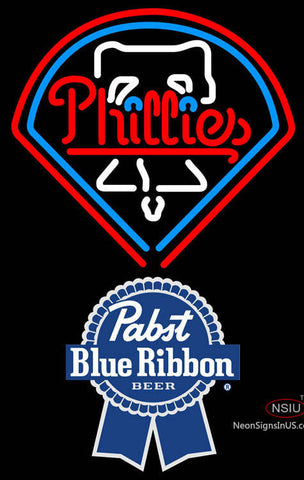 Pabst Blue Ribbon Philadelphia Phillies MLB Neon Sign