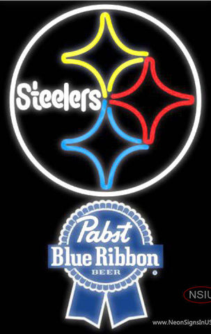 Pabst Blue Ribbon Pittsburgh Steelers NFL Neon Sign