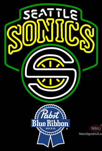 Pabst Blue Ribbon Seattle Supersonics NBA Neon Sign