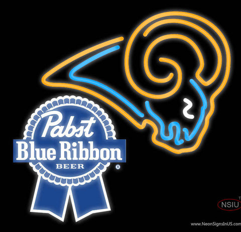 Pabst Blue Ribbon St Louis Rams NFL Neon Sign
