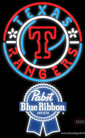 Pabst Blue Ribbon Texas Rangers MLB Neon Sign