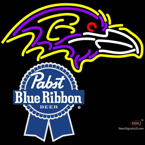 Pabst Blue Ribbon Baltimore Ravens NFL Neon Sign