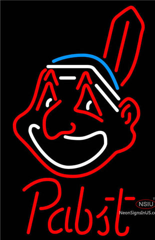 Pabst Cleveland Indians MLB Beer Neon Sign