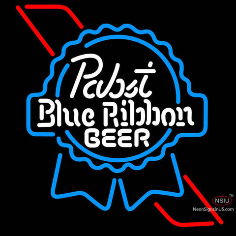 Pabst Sky Blue Red Ribbon Neon Beer Sign