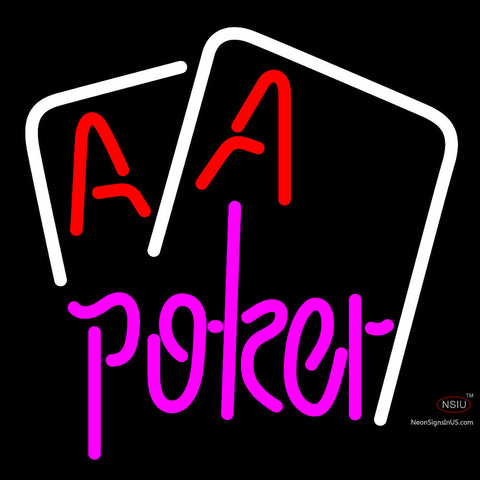 Poker Purple Lettering Red Aces White Cards Neon Sign x
