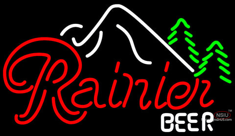 Rainier Evergreen Trees Mountain Neon Beer Sign