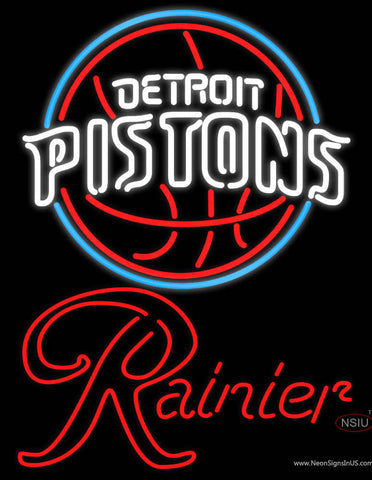 Rainier Detroit Pistons NBA Neon Beer Sign
