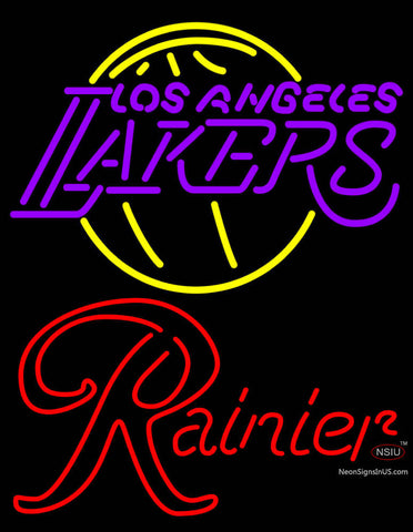 Rainier Los Angeles Lakers NBA Neon Beer Sign