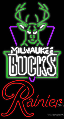Rainier Milwaukee Bucks NBA Neon Beer Sign