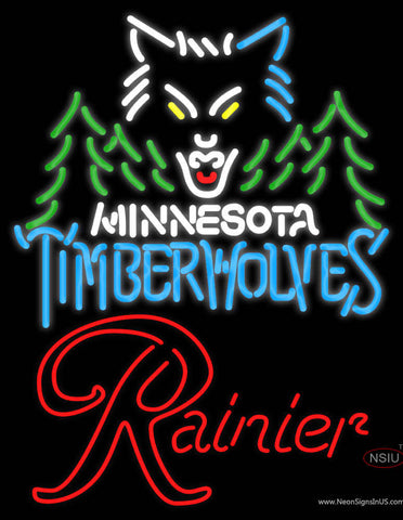 Rainier Minnesota Timber Wolves NBA Neon Beer Sign