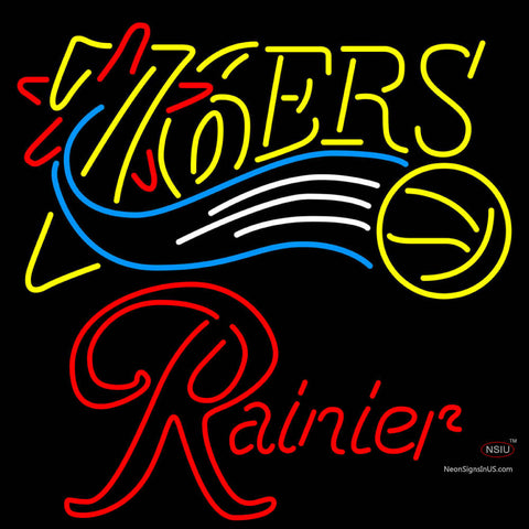 Rainier Philadelphia 7ers NBA Neon Beer Sign