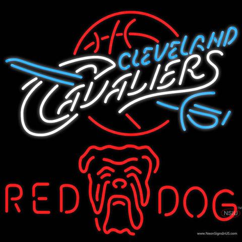 Red Dog Cleveland Caveliers NBA Neon Beer Sign