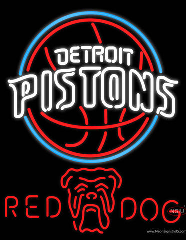 Red Dog Detroit Pistons NBA Neon Beer Sign