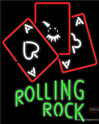 Rolling Rock Ace And Poker Neon Sign