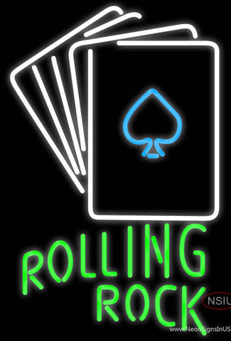 Rolling Rock Cards Neon Sign