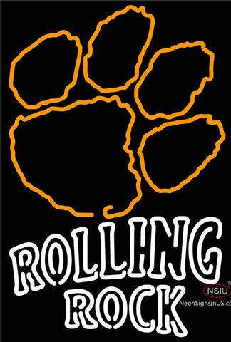 Rolling Rock Double Line Clemson UNIVERSITY Tiger Print Neon Sign