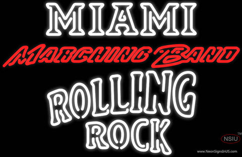 Rolling Rock Double Line Miami UNIVERSITY Band Board Neon Sign