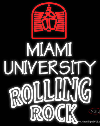 Rolling Rock Double Line Miami UNIVERSITY Neon Sign