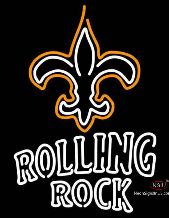 Rolling Rock Double Line New Orleans Saints Nfl Real Neon Glass Tube Neon Sign
