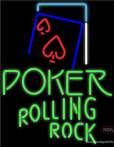Rolling Rock Green Poker Red Heart Neon Sign