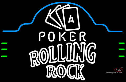 Rolling Rock Poker Ace Cards Neon Sign