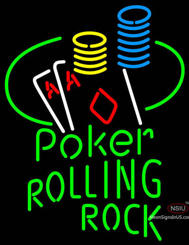 Rolling Rock Poker Ace Coin Table Neon Sign