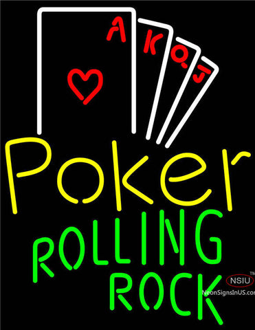 Rolling Rock Poker Ace Series Neon Sign
