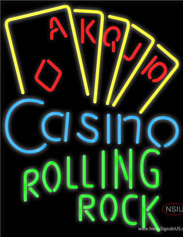 Rolling Rock Poker Casino Ace Series Neon Sign