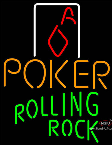 Rolling Rock Poker Squver Ace Neon Sign