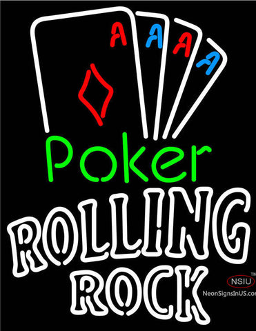 Rolling Rock Poker Tournament Neon Sign