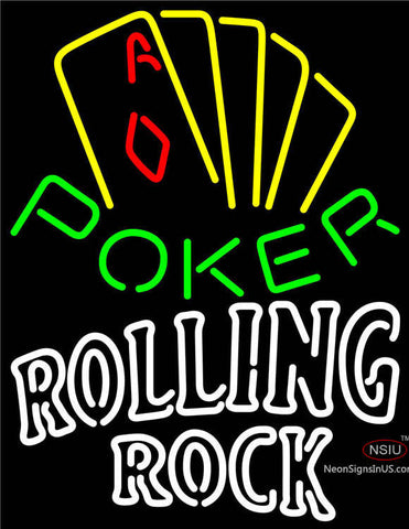 Rolling Rock Poker Yellow Neon Sign