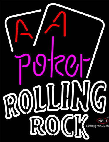 Rolling Rock Purple Lettering Red Aces White Cards Neon Sign