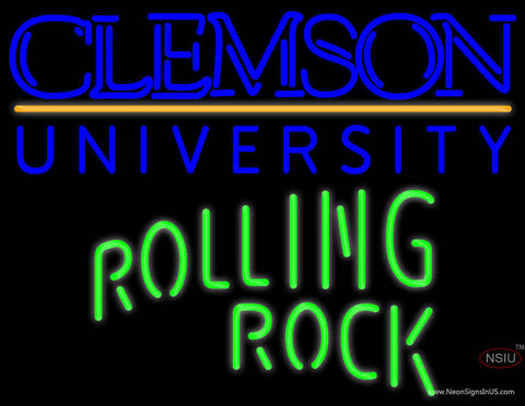 Rolling Rock Single Line Clemson UNIVERSITY Neon Sign  7