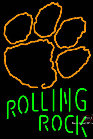 Rolling Rock Single Line Clemson UNIVERSITY Tiger Print Neon Sign