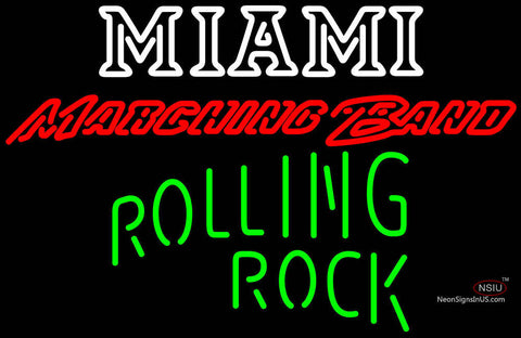 Rolling Rock Single Line Miami UNIVERSITY Band Board Neon Sign