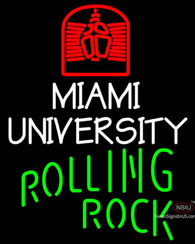Rolling Rock Single Line Miami UNIVERSITY Neon Sign