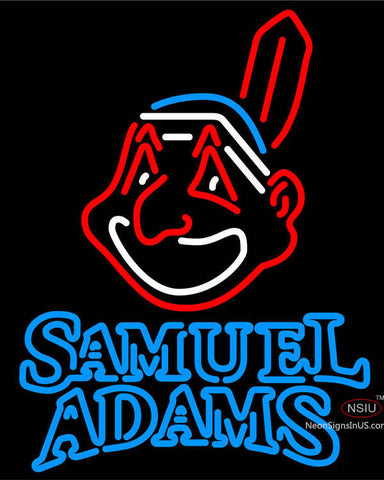 Samual Adams Double Line Cleveland Indians MLB Neon Sign  7
