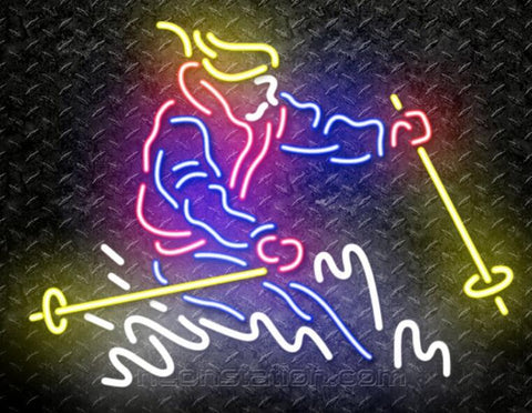 Skier Real Neon Glass Tube Neon Sign