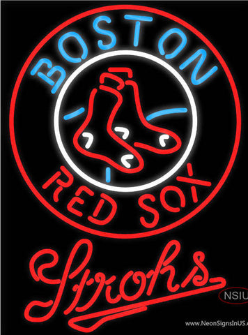 Strohs Boston Red Sox MLB Beer Neon Sign