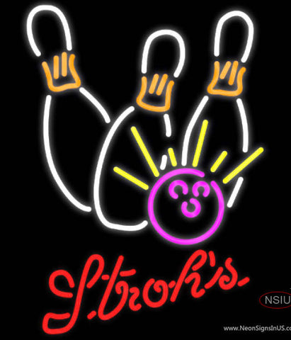 Strohs Bowling Neon White Pink Neon Sign