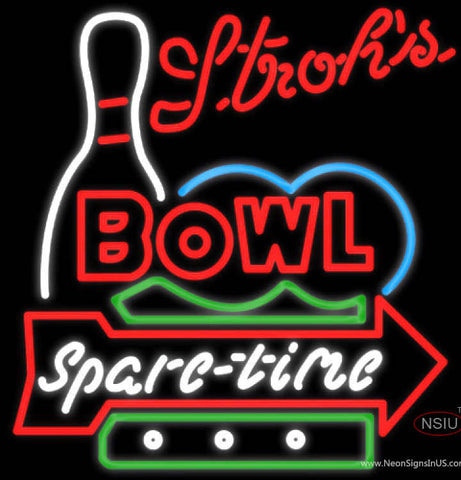 Strohs Bowling Spare Time Neon Sign