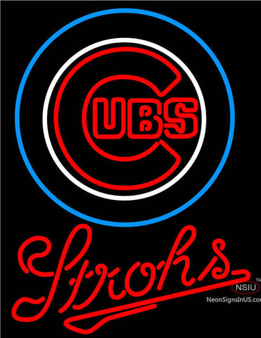 Strohs Chicago Cubs MLB Beer Neon Sign